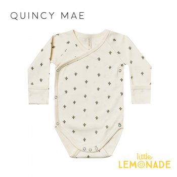 <img class='new_mark_img1' src='https://img.shop-pro.jp/img/new/icons1.gif' style='border:none;display:inline;margin:0px;padding:0px;width:auto;' />【Quincy Mae】 SIDE SNAP BODYSUIT | CACTUS 【6-12か月】 QM007RY AW21 前開き ロンパース カクタス YKZ