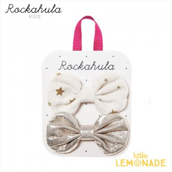 <img class='new_mark_img1' src='https://img.shop-pro.jp/img/new/icons1.gif' style='border:none;display:inline;margin:0px;padding:0px;width:auto;' />【Rockahula  Kids】Scattered Stars Bow Clips-IVORY スター柄ゴールドヘアクリップ 2個セット ぱっちんどめ ヘアアクセサリー (H1642I)
