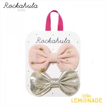 <img class='new_mark_img1' src='https://img.shop-pro.jp/img/new/icons1.gif' style='border:none;display:inline;margin:0px;padding:0px;width:auto;' />【Rockahula  Kids】Scattered Stars Bow Clips-PINK スター柄ピンクとゴールドヘアクリップ 2個セット ぱっちんどめ ヘアアクセサリー (H1642P)