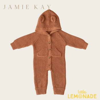 <img class='new_mark_img1' src='https://img.shop-pro.jp/img/new/icons1.gif' style='border:none;display:inline;margin:0px;padding:0px;width:auto;' />【Jamie Kay】 BEAR ONEPIECE - TAWNY MARLE 【6-12か月/1歳】 ベア ワンピース ブラウン クマ耳付