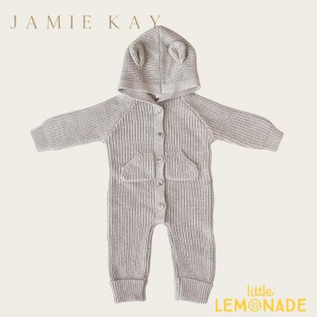 <img class='new_mark_img1' src='https://img.shop-pro.jp/img/new/icons1.gif' style='border:none;display:inline;margin:0px;padding:0px;width:auto;' />【Jamie Kay】 BEAR ONEPIECE - BIRCH MARLE 【6-12か月/1歳】 ベア ワンピース クマ耳付