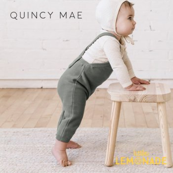 <img class='new_mark_img1' src='https://img.shop-pro.jp/img/new/icons1.gif' style='border:none;display:inline;margin:0px;padding:0px;width:auto;' />【Quincy Mae】 KNIT OVERALLS | BASIL   【6-12か月/12-18か月/18-24か月】 QM057SL AW21 ニット オーバーオール サロペット YKZ