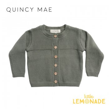 <img class='new_mark_img1' src='https://img.shop-pro.jp/img/new/icons1.gif' style='border:none;display:inline;margin:0px;padding:0px;width:auto;' />【Quincy Mae】 KNIT CARDIGAN | BASIL    【6-12か月/12-18か月/18-24か月/2-3歳】 QM072SL AW21 ニット カーディガン YKZ