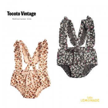 <img class='new_mark_img1' src='https://img.shop-pro.jp/img/new/icons1.gif' style='border:none;display:inline;margin:0px;padding:0px;width:auto;' />【Tocoto Vintage】 CULOTTE WITH SUSPENDERS FLOWER CORDUROY PINK/DARKGREY 【12か月/2歳】 W11921 21AW YKZ