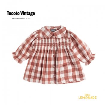 <img class='new_mark_img1' src='https://img.shop-pro.jp/img/new/icons1.gif' style='border:none;display:inline;margin:0px;padding:0px;width:auto;' />【Tocoto Vintage】 VICHY FRAMES LONG BLOUSE 【4歳 / 6歳】  襟付きロングブラウス  (W32121) 【送料無料】 21AW YKZ