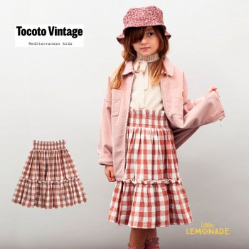 <img class='new_mark_img1' src='https://img.shop-pro.jp/img/new/icons1.gif' style='border:none;display:inline;margin:0px;padding:0px;width:auto;' />【Tocoto Vintage】 VICHY FRAMES MIDI SKIRT 【4歳 / 6歳 / 8歳】  ミディ スカート  (W32321) 【送料無料】 21AW YKZ