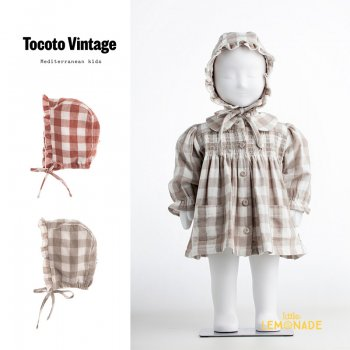 <img class='new_mark_img1' src='https://img.shop-pro.jp/img/new/icons1.gif' style='border:none;display:inline;margin:0px;padding:0px;width:auto;' />【Tocoto Vintage】 VICHY CHECKED CAPDARK PINK / GREY 【Mサイズ】  チェック柄 コットン製ボンネット  (W72521) 21AW YKZ