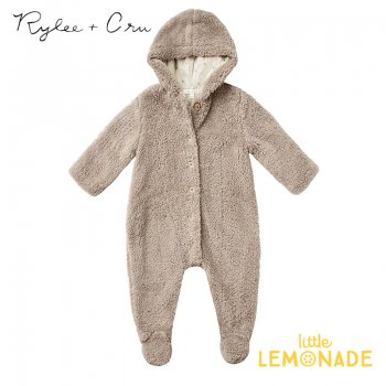 <img class='new_mark_img1' src='https://img.shop-pro.jp/img/new/icons1.gif' style='border:none;display:inline;margin:0px;padding:0px;width:auto;' /> 【Rylee+Cru】 BEAR SUIT TAUPE 【3-6/6-12か月】 RC188TA  21AW フード付きカバーオール ベビー アウター ykz