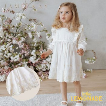 <img class='new_mark_img1' src='https://img.shop-pro.jp/img/new/icons1.gif' style='border:none;display:inline;margin:0px;padding:0px;width:auto;' />【Jamie Kay】 LILY DRESS- NATURAL 【1歳/2歳/3歳/4歳 】  ワンピース ドレス 刺繍 ホワイト 白 長袖 ジェイミーケイ
