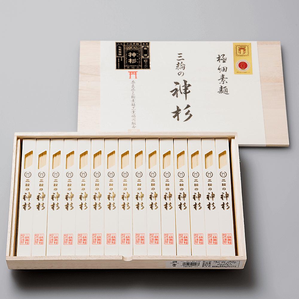 【最高級の超極細素麺】三輪素麺 【三輪の神杉】(化粧木箱入り)
