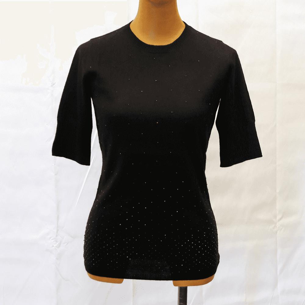 【カシミア100% 1点限り】ビーズ・丸首半袖セーター(ブラック)