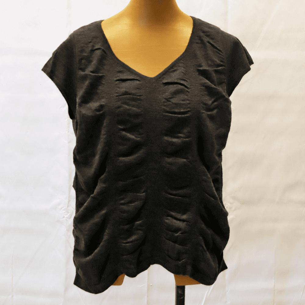 【カシミア100% 1点限り】シャーリング半袖セーター(グレー)