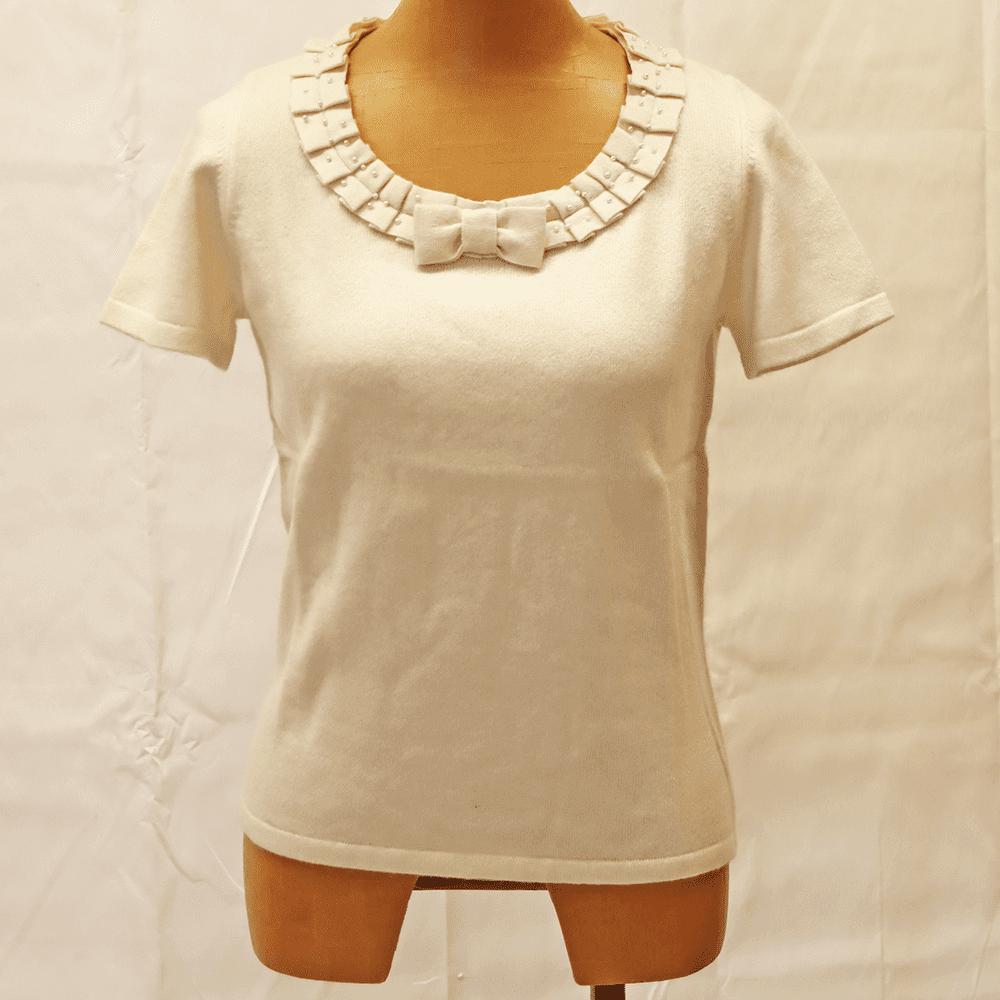 【カシミア100% 1点限り】リボン付き半袖セーター(オフホワイト)