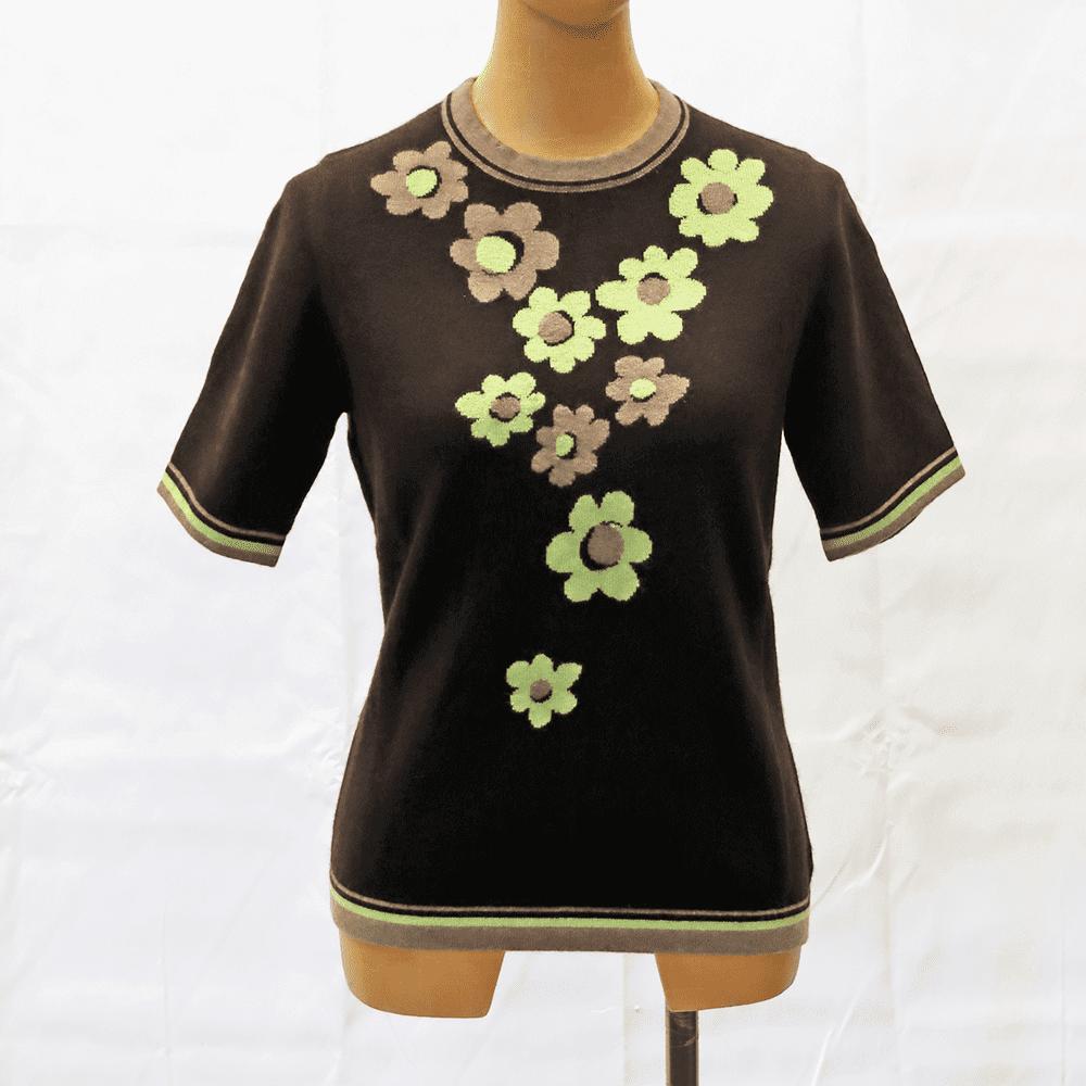 【カシミア100% 1点限り】花柄インターシャ・半袖セーター(ブラウン)