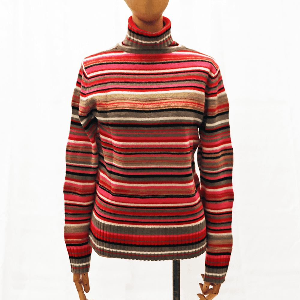 【カシミア100% 1点限り】マルチボーダー タートルネックセーター(赤系)