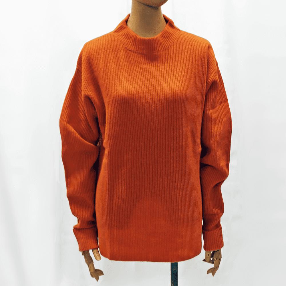 【カシミア100% 1点限り】アゼ編みロングセーター(オレンジ)