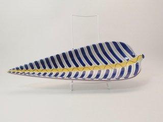 スティグ・リンドベリ ファイアンス焼き / 青い縞のリーフ