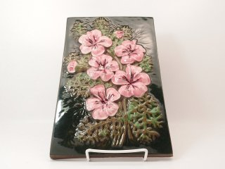 ジィ ガントフタ(Jie Gantofta) 陶板 / ピンクのお花 28cm×18cm