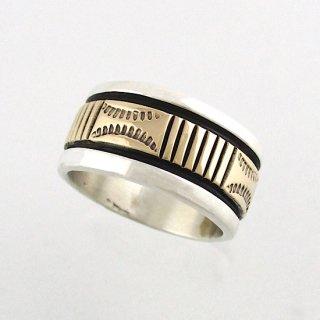 【13号】ブルースモーガン<br>14金ゴールドを使用したスタンプリング ナバホリング/ゴールドコンビ<br>【ナバホ族】Bruce Morgan<br>