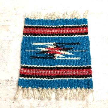 【オルテガコースター】青01<br>ORTEGA'S WEAVING社製 手織りで作られたコースターラグ<br>