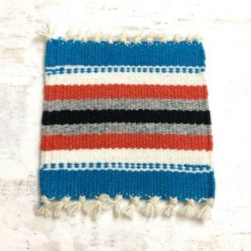 【オルテガコースター】青04<br>ORTEGA'S WEAVING社製 手織りで作られたコースターラグ<br>