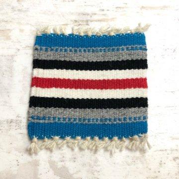【オルテガコースター】青05<br>ORTEGA'S WEAVING社製 手織りで作られたコースターラグ<br>