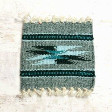 【オルテガコースター】灰緑02<br>ORTEGA'S WEAVING社製 手織りで作られたコースターラグ<br>
