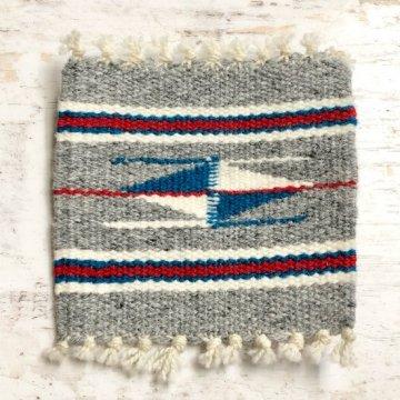 【オルテガコースター】ライトグレー02<br>ORTEGA'S WEAVING社製<br>手織りで作られたコースターラグ 1点のみ!<br>