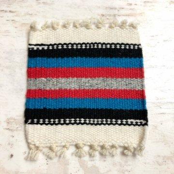 【オルテガコースター】ホワイト08<br>ORTEGA'S WEAVING社製<br>手織りで作られたコースターラグ<br>