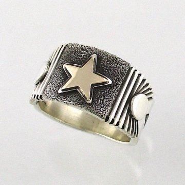 【21/24.5号】パットベドニー作<br>14金の星がメインに入ったスターモチーフのナバホリング<br>スタンプリング スターリング <br>【ナバホ族】Pat Bedonie<br>