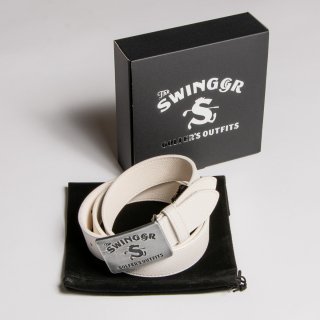 """<img class='new_mark_img1' src='https://img.shop-pro.jp/img/new/icons13.gif' style='border:none;display:inline;margin:0px;padding:0px;width:auto;' />Leather Belt """"The Swingggr"""" White"""