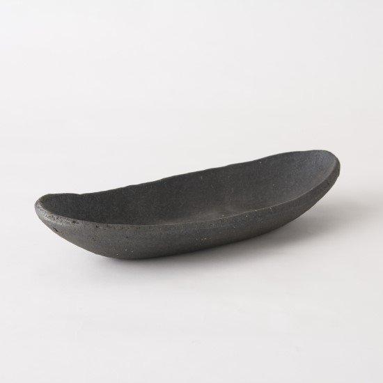 黒灰 舟形皿