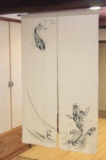 手描き麻「昇り鯉」縦150cm×横90cm