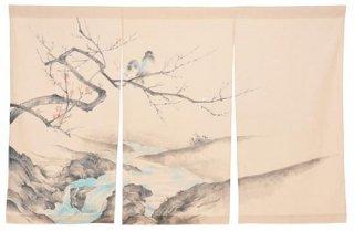 手描き麻「山水と鵲」縦150cm×横90cm