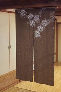 手描き麻「ボタン桜」縦150cm×横90cm
