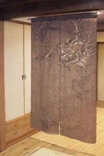 手描き麻「金竜」縦150cm×横90cm