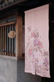 手描き麻「兎と波」縦150cm×横90cm