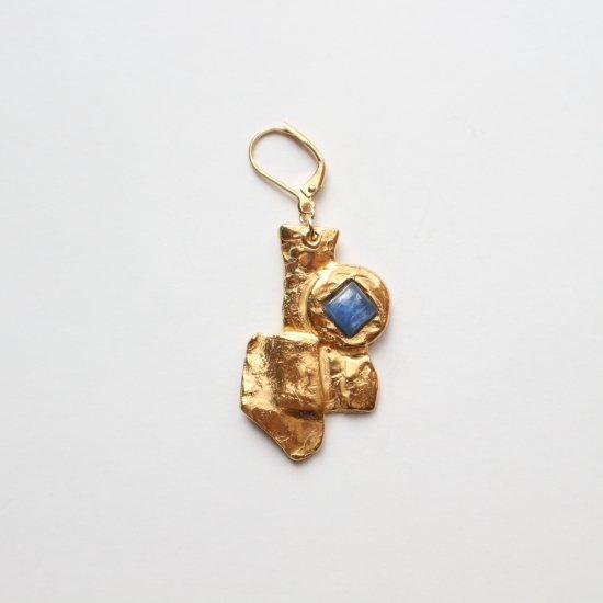 青い石で読み解く石盤の片耳ピアスB