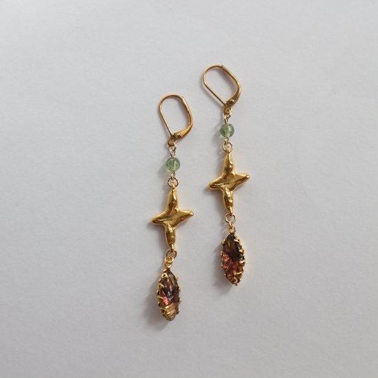 Vintage glass & Cross pierce(earring)