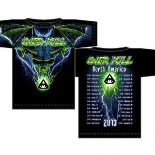 OVERKILL Allover Blue Batwing Skull, Tシャツ