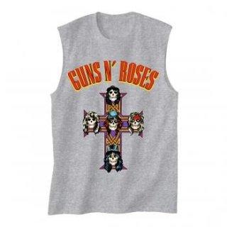 GUNS N' ROSES Arched Logo Cross, ノースリーブTシャツ(メンズ)