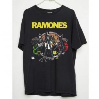RAMONES Live Cartoon Vintage/BLACK, Tシャツ