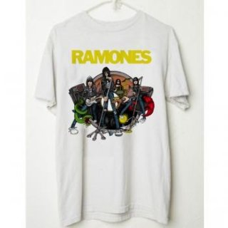 RAMONES Live Cartoon Vintage/WHITE, Tシャツ