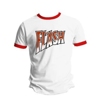 QUEEN Flash White & Red Ringer, Tシャツ