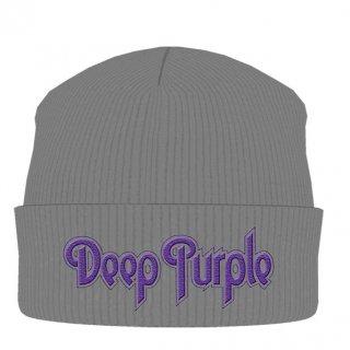DEEP PURPLE Logo Grey, ニットキャップ