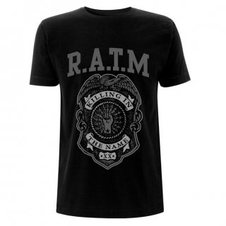 RAGE AGAINST THE MACHINE Grey Police Badge Black, Tシャツ