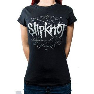SLIPKNOT Logo Star With Rhinestone Application, レディースTシャツ