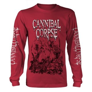 CANNIBAL CORPSE Pile Of Skulls 2018 (red), ロングTシャツ