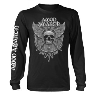 AMON AMARTH Grey Skull (black), ロングTシャツ