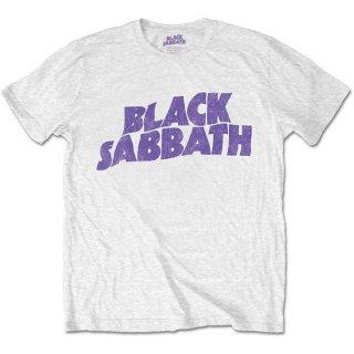 BLACK SABBATH Wavy Logo Vintage Wht, Tシャツ